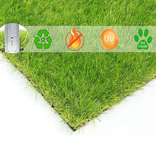 BUNDMAN Erba Artificiale Stuoia Erba Sintetica zerbino prato sintetico Giardino sintetico per cani da animali domestici da esterno venduti Altezza del mucchio di 30 mm,24'×18'