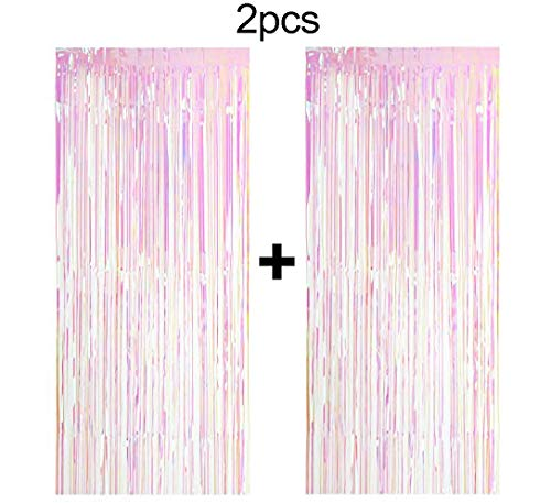 Easy Joy 2 Pack Big Metallic Tinsel Curtains Rosa