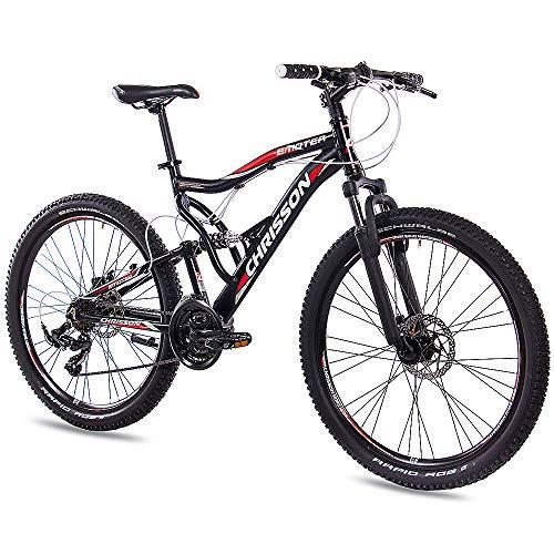"CHRISSON 26\"" Zoll ALU MTB Mountainbike Fahrrad EMOTER Fully Unisex mit 21G Shimano TX55 2xDISK Schwarz Matt"