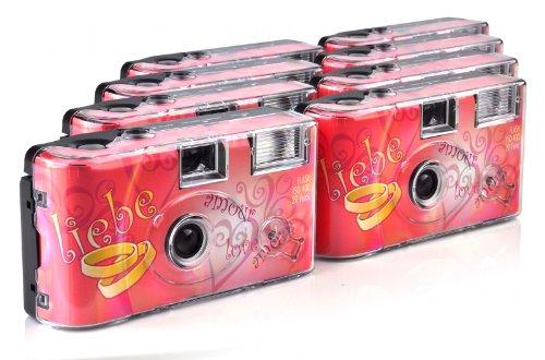 TopShot Love Hearts Einwegkamera (27 Fotos, Blitz, 8-er Pack)