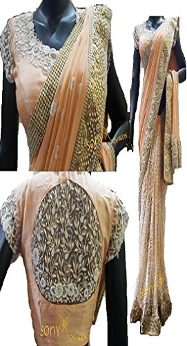 Sunshine Fashion Chiku Color Georgette , Excellent Fancy Fabric Multy Saree  (...