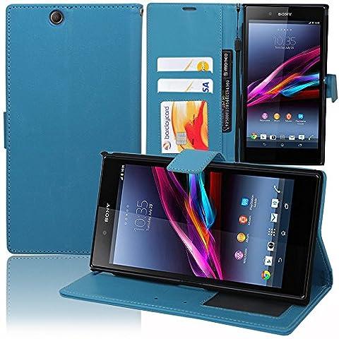 VCOMP® Housse Coque Etui portefeuille Support Video Livre rabat cuir PU pour Sony Xperia Z Ultra XL39H C6802 C6806 C6833 - BLEU
