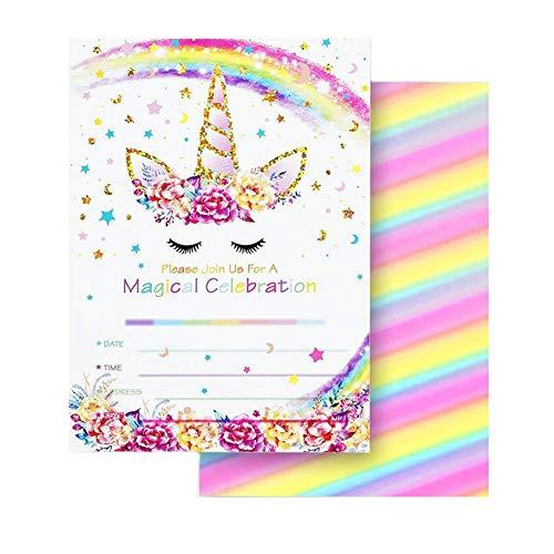 tter Unicorn Geburtstagsparty Einladungskarten Doppelseitig mit 24 Umschläge Unicorn Einladungen für Kinder Geburtstag Unicorn Party Dekoration (Regenbogen) ()