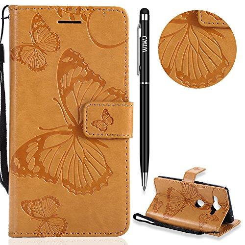 WIWJ Sony Xperia XZ2 Compact Handyhülle,Sony Xperia XZ2 Compact Hülle, PU Cover Case Leder[3D-geprägtes Schmetterlings Handy Case] Hülle für Sony Xperia XZ2 Compact-Gelb -