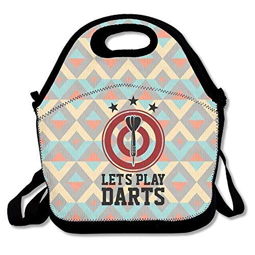 Dozili Let\'s Play Darts mit Dartscheibe, große & dicke Neopren, isolierte Lunch-Tasche, Kühltasche, warm, mit Schultergurt, für Damen, Teenager, Mädchen, Kinder, Erwachsene