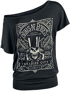 Guns N Roses Paradise City Label Camiseta Mujer Negro