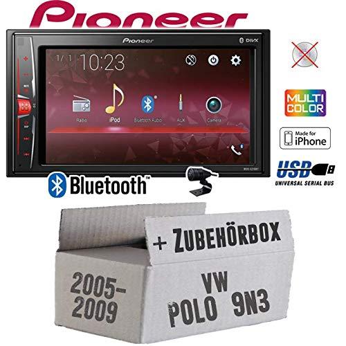 Autoradio Radio Pioneer MVH-A210BT - 2-DIN Bluetooth | MP3 | USB | - Einbauzubehör - Einbauset für VW Polo 9N3 - JUST SOUND best choice for caraudio