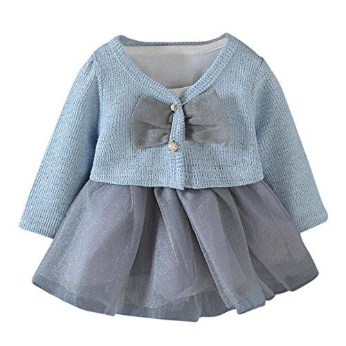Kobay 2 Stücke Infant Kleinkind Baby Mädchen Tutu Prinzessin Kleid + Mantel Outfits Kleidung Set (S/3Monat, Hellblau)