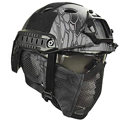 LIKEDA Airsoft Paintball Schutzhelm, Taktische Helme Mit Stahlgitter Maske CS Spiel Set 8 Farbe,E -