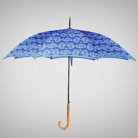 SSBY Paraguas doble uso vinilo protector solar UV, barra recta paraguas mango paraguas semi-automático femenino, robustos y portátiles , treasure blue