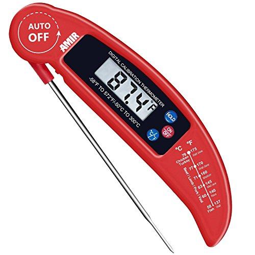 AMIR Cibo termometro Digitale, Lettura istantanea Candy/Carne termometro con sonda per Cucina, Barbecue, pollame, Grill, Pieghevole, Fast & Auto ON/off, Batteria Non Inclusa, Classe energetica A + +