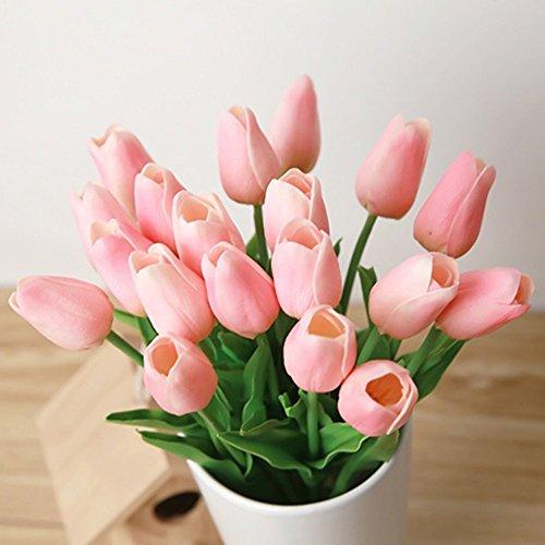 10pcs pu mini tulip fiore artificiale real touch latex tulipano per la cerimonia nuziale per la decorazione domestica (rosa)