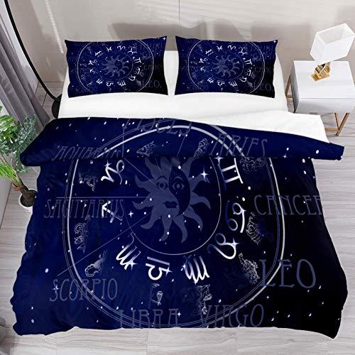 LIS HOME Bettwäsche Bettbezug-Set Fantasy Constellation Bedrucktes Tröster-Set mit 2 Kissenbezügen, 3-teiligem, weichem hypoallergenem Reißverschluss -