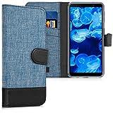 kwmobile Funda para Samsung Galaxy A7 (2018) - Carcasa de Tela y [Cuero sintético] - con Tapa y [Tarjetero] [Azul/Negro]