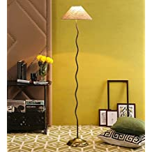 Jute & Stiffner Antique Gold Zig Zag Floor Lamp /Standing Lamp By New Era For Living Room /Drawing Room/Office/Bedroom/Decoration /Corner/Gift/Lobby