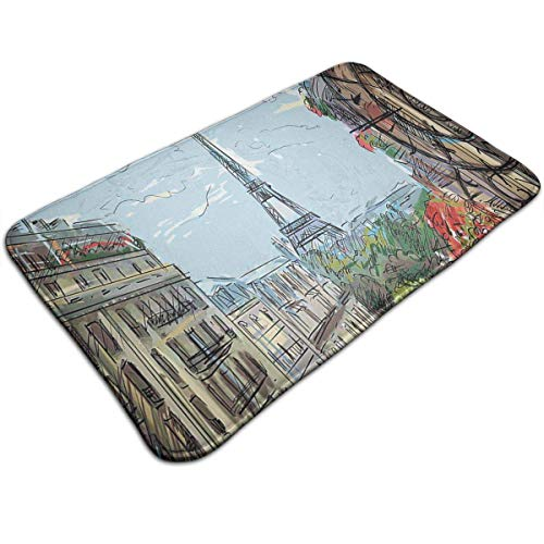 Bikofhd Street in Paris Town Traffic Trees Downtown Urban Kitchen Carpet Rug Door Mat Rug for Bathroom Outdoor Porch Laundry Living (19.5