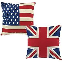 Luxbon Coppia di bandiera e bandiera americana stelle e strisce cuscino Cover resistente cotone lino throw pillow case Bandiera Lover regalo 45,7x 45,7cm 45x 45