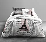 Housse de couette Vintage Paris 240x260cm 100% coton et 2 taies d'oreiller 63x63cm
