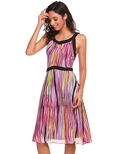 Meaneor Damen Chiffon Floral Trägerkleid Ärmelloses Strappy Ruffled Swing Sommerkleid Pattern 1