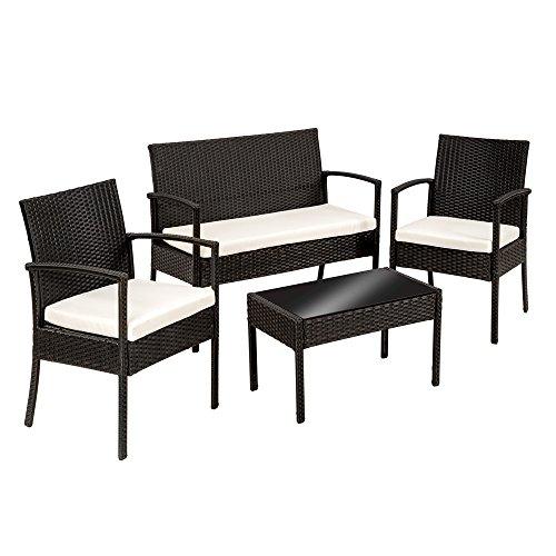 TecTake Salon de jardin Table de jardin en resine tressee chaises salon d'exterieur poly rotin - diverses couleurs au choix - (Noir | No. 402835)