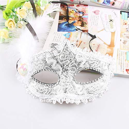 dhude Klöppelblume Malerei Make-up Halb-Gesicht-Maske Halloween-spitzenmaske Dekorative Party-Maske Eine Weiß