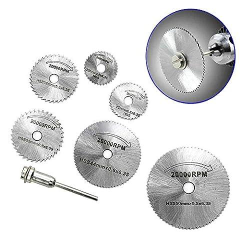 Tiptiper 7Pcs Cut Off Bohrer Rotary Tools HSS Metall Kreissäge Disc Rad Klingen für Carpenter