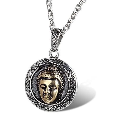 cupimatch Vintage Hommes Femmes Argent ton doré en acier inoxydable Lucky Bouddha Pendentif chaîne collier de cadeau de Noël 55 cm