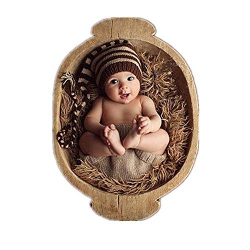 BINLUNNU Neugeborene Junge mädchen Handarbeit gehäkelte Baby kostüm fotoshooting Hut Kopfschmuck