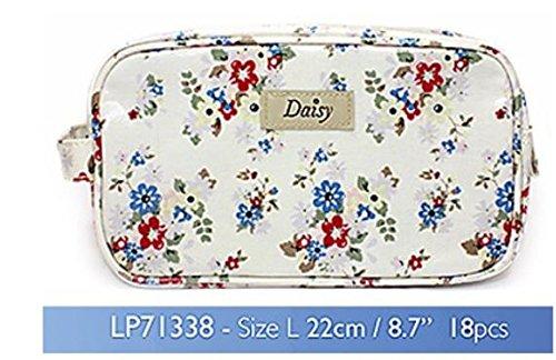 Daisy Mini Trousse à Toilettes/Maquillage en Tissu huilé Motif Floral d'été