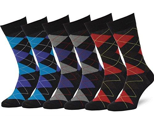 Easton Marlowe (6 PAIA Calze Fantasia Uomo Argyle - 6pk #2-6, Nero & Colori Luminosi - 43-46 EU shoe size