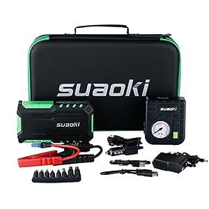 Suaoki G7 Plus 18000mAh Booster Batterie 600A Courant de Crête Jump Starter Démarrage de Voiture Alimentation Eléctrique d'Urgence LED + 80 PSI Compresseur d'air