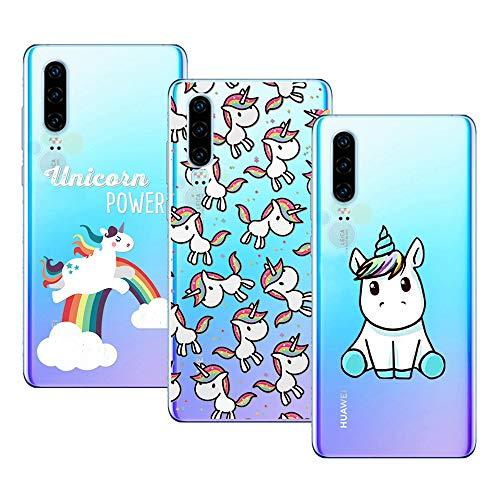 Young & Ming Cover Huawei P30, (3 Pack) Morbido Trasparente Silicone Custodie Protettivo TPU Gel Case, Unicorno