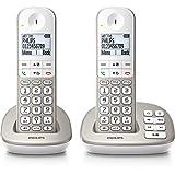 Philips XL4952S/FR téléphone sans fil DECT confort touches larges duo argent avec répondeur