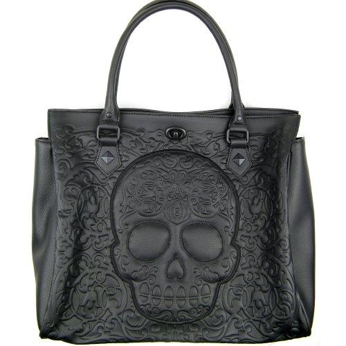 loungefly-damen-henkeltasche-aus-kunstleder-lattice-sugar-skull-handtasche-schwarz-oder-rot-schwarz