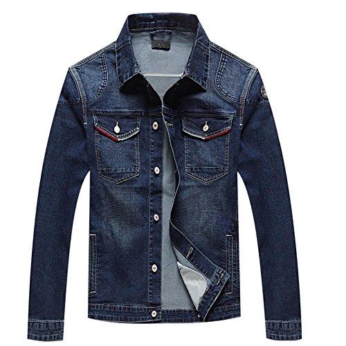 ZQQ Uomo Primavera Autunno grande formato breve collare jeans slim Giacca Parka Trench Blazer Cappotti , blue , m