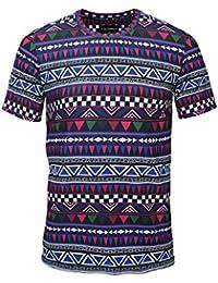 98e6d498d0b06 Hombres Tribal Africana Dashiki Camiseta Floral Hipster Hip Hop Tops