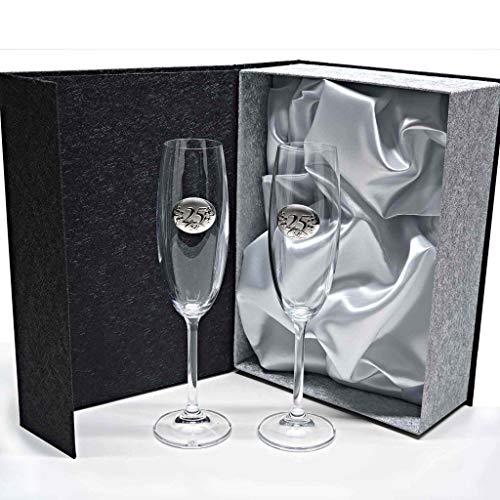 Set/Estuche de 2 Copas de champán para Novios, Bodas de Plata/Oro, Aniversarios, colección GASTRO-25 Aniversario, Aplique bilaminado.