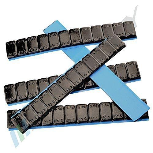 7 Auswuchtgewichte SCHWARZ 12x5g Klebegewichte Stahlgewichte Kleberiegel 60g mit ABRISSKANTE verzinkt & kunststoffbeschichtet 0,42KG SCHWARZ 5gx12