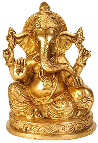 ShalinIndia Ganesha Statue Messing Hinduismus in Indien Religiöse Artikel Hindu Tempel Puja 16,5cm -2.05kg