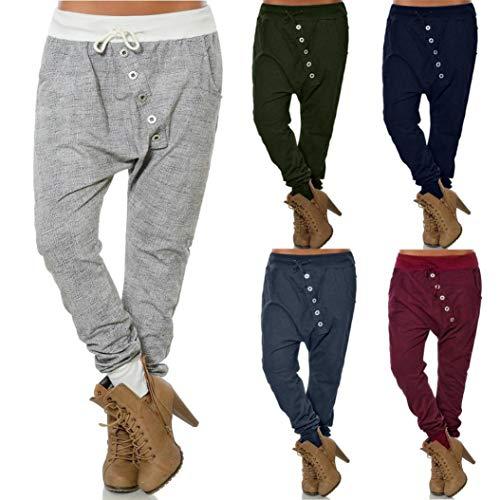 beautyjourney Pantalones de harén holgados de mujer Pantalones Bloom  Pantalones casuales de Hip Hop Pantalones harem de gran tamaño en color liso  ... a6819770922