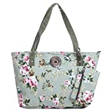 Stripe Canvas Tote Shoulder Bag Vintage Button Holiday Beach Free Purse (green roses)