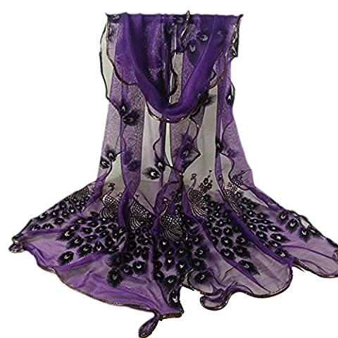 SUNNOW® 16 Colors Women's Fashion Soft Scarf Long Scarfs Peacock Flower Printed Scarves Shawl Wrap (Dark Purple)