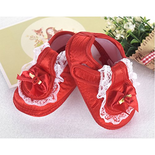 Zhhlinyuan First Walking Shoes Baby Girls Bowknot Decoration Anti-slip Sole Soft Shoes Red