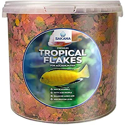 Sakana Premium Tropical Fish Flakes - Complete Daily Feed Warm Water Aquarium Fish Food by Sakana