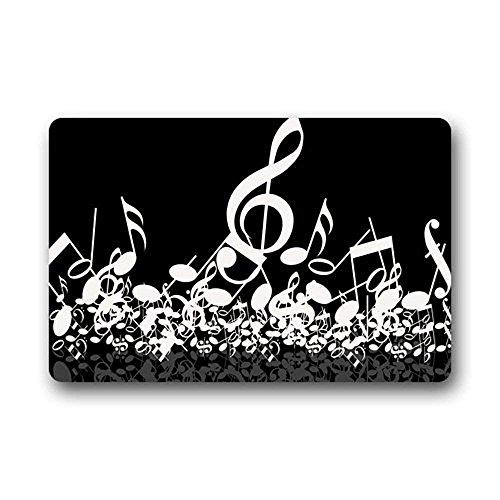 Jkimiiscute - Felpudo Personalizable con diseño de Notas Musicales, Color Blanco y Negro, Lavable a máquina, 60 x 40 cm