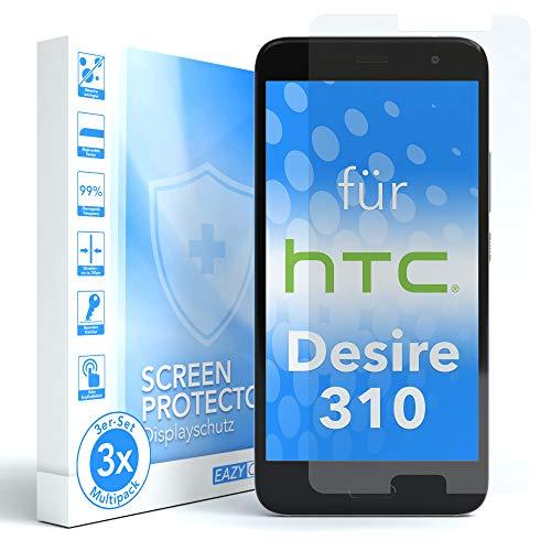 EAZY CASE 3X Panzerglas Bildschirmschutz 9H Härte für HTC Desire 310, nur 0,3 mm dick I Schutzglas aus gehärteter 2,5D Panzerglasfolie, Bildschirmschutzglas, Transparent/Kristallklar