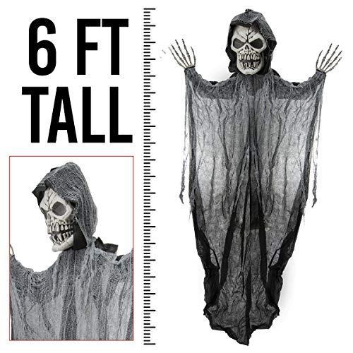 Prextex 1,80 Meter Hängender Sensenmann Totenschädel, die perfekte Dekoration für ()
