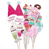 CLE DE Tous - Pack de 26 Piezas Photocall para Fiesta Cumpleaños Set Decorativo Accesorios para Fiesta de Tema Rosado Dulce Helado