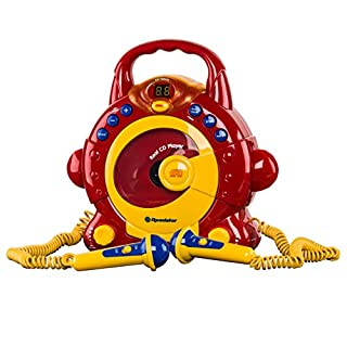 Roadstar KID-55CD Kinder CD-Spieler mit 2 Mikrofonen und Karaoke-Funktion (tragbar, Batterie-Betrieb, Kopfhörer-Anschluss, 10 Watt Musikleistung)