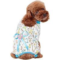 PerGrate Ropa para perro, lindo gato cachorro de algodón para dormir camiseta abrigo disfraz pijama con botones de presión de lazo